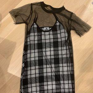 Black & White Mini Slip/ Detachable Mesh Dress